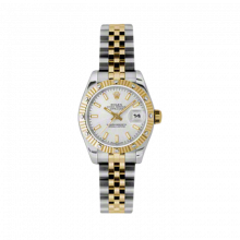 New Rolex Ladies New Style Datejust Watch - 18K Two Tone Yellow Gold  Silver Index Dial - 12 Diamond Fluted Bezel - Jubilee Bracelet 26 MM 179313
