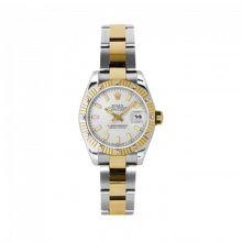 New Rolex Ladies New Style Datejust Watch - 18K Two Tone Yellow Gold  Silver Index Dial - 12 Diamond Fluted Bezel - Oyster Bracelet 26 MM 179313