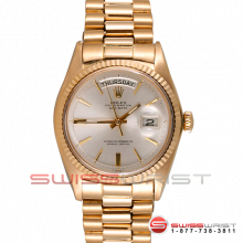 Pre-owned Rolex Mens Yellow Gold Day Date President Watch - Silver Stick Dial & Fluted Bezel 1803 Model