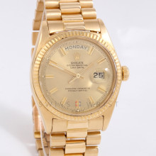 Rolex Day-Date 36mm 1803 Yellow Gold, Champagne Stick Wide Boy Dial w/ Fluted Bezel on Presidential Bracelet - Men's - Box Papers
