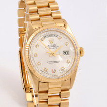 Rolex Day-Date 36 mm 1803 Yellow Gold, Silver Diamond Dial, Fluted Bezel on a Presidential Bracelet - Pre-Owned Non Quick Set Men's Watch