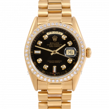 Rolex Day-Date 36 18038 18K Yellow Gold President, Custom Black Diamond Dial, 1ct Diamond Bezel on Presidential Bracelet - Men's Pre-Owned Watch