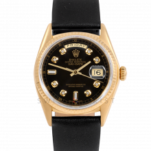 Rolex Day-Date 36 18038 18K Yellow Gold President, Custom Black Diamond Dial, Fluted Bezel on Black Leather Strap - Men's Pre-Owned Watch