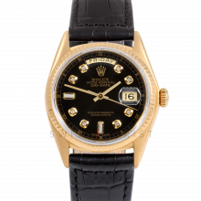 Rolex Day-Date 36 18038 18K Yellow Gold President, Custom Black Diamond Dial, Fluted Bezel on Black Alligator Leather Strap - Men's Pre-Owned Watch