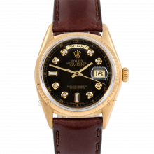 Rolex Day-Date 36 18038 18K Yellow Gold President, Custom Black Diamond Dial, Fluted Bezel on Brown Leather Strap - Men's Pre-Owned Watch