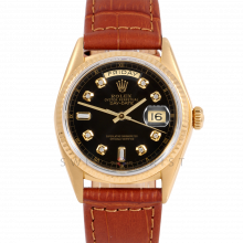 Rolex Day-Date 36 18038 18K Yellow Gold President, Custom Black Diamond Dial, Fluted Bezel on Brown Alligator Leather Strap - Men's Pre-Owned Watch