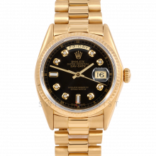Rolex Day-Date 36 18038 18K Yellow Gold President, Custom Black Diamond Dial, Fluted Bezel on Presidential Bracelet - Men's Pre-Owned Watch