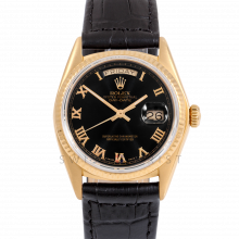 Rolex Day-Date 36 18038 18K Yellow Gold President, Refinished Black Roman Dial, Fluted Bezel on Black Alligator Leather Strap - Men's Pre-Owned Watch