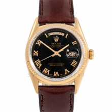 Rolex Day-Date 36 18038 18K Yellow Gold President, Refinished Black Roman Dial, Fluted Bezel on Brown Leather Strap - Men's Pre-Owned Watch