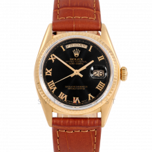 Rolex Day-Date 36 18038 18K Yellow Gold President, Refinished Black Roman Dial, Fluted Bezel on Brown Alligator Leather Strap - Men's Pre-Owned Watch