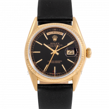 Rolex Day-Date 36 18038 18K Yellow Gold President, Refinished Black Stick Dial, Fluted Bezel on Black Leather Strap - Men's Pre-Owned Watch