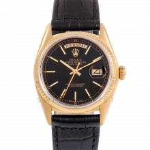 Rolex Day-Date 36 18038 18K Yellow Gold President, Black Stick Dial, Fluted Bezel on Black Alligator Leather Strap - Men's Pre-Owned Watch