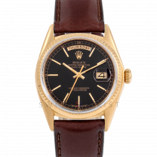 Rolex Day-Date 36 18038 18K Yellow Gold President, Black Stick Dial, Fluted Bezel on Brown Leather Strap - Men's Pre-Owned Watch
