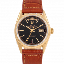 Rolex Day-Date 36 18038 18K Yellow Gold President, Black Stick Dial, Fluted Bezel on Brown Alligator Leather Strap - Men's Pre-Owned Watch