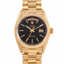 Rolex Day-Date 36 18038 18K Yellow Gold President, Black Stick Dial, Fluted Bezel on Presidential Bracelet - Men's Pre-Owned Watch