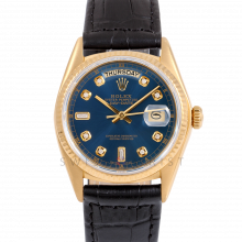 Rolex Day-Date 36 18038 18K Yellow Gold President, Custom Blue Diamond Dial, Fluted Bezel on Black Alligator Leather Strap - Men's Pre-Owned Watch