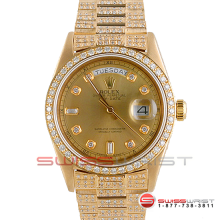 Rolex Day Date President 18038 Champagne Diamond Dial 18K Yellow Gold - Diamond Bezel On A Full Pave Band - Pre-Owned