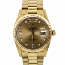Rolex Day Date President 18238 Factory Champagne Diamond Dial 18K Yellow Gold - Fluted Bezel On A President Bracelet - Double Quickset - Pre-Owned