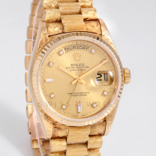 Rolex Day-Date President 18038 18K Yellow Gold 36mm Florentine Finish w/ Factory Champagne Diamond Dial and Fluted Bezel - Pre-Owned