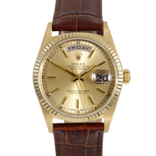Rolex Day Date President 18038 Champagne Stick Dial 18K Yellow Gold - Fluted Bezel On A Brown Leather Strap - Pre-Owned