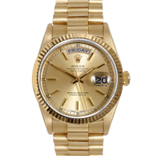 Rolex Day Date President 18038 Champagne Stick Dial 18K Yellow Gold - Fluted Bezel On A President Bracelet - Pre-Owned