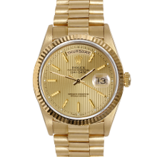 Rolex Day Date President 18038 Champagne Stick Tapestry Dial 18K Yellow Gold - Fluted Bezel On A President Bracelet - Pre-Owned