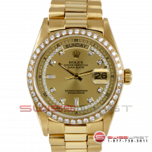 Rolex Day Date President 18038 Champagne String Diamond Dial 18K Yellow Gold - Diamond Bezel On A President Bracelet - Pre-Owned