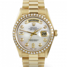 Rolex Day Date President 18238 Mother of Pearl Diamond Dial 18K Yellow Gold - Diamond Bezel On A President Bracelet - Double Quickset - Pre-Owned