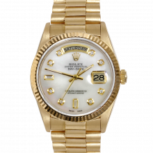 Rolex Day Date President 18038 Mother Of Pearl Diamond Dial 18K Yellow Gold - Fluted Bezel On A President Bracelet - Pre-Owned