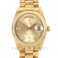 Rolex Day-Date 36mm 18038 18K Yellow Gold President, Factory New Style Champagne 8+2 Diamond Dial, Fluted Bezel on Presidential Bracelet - Men's Pre-Owned Watch