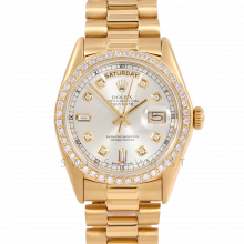 Rolex Day-Date 36 18038 18K Yellow Gold President, Custom Silver Diamond Dial, 1ct Diamond Bezel on Presidential Bracelet - Men's Pre-Owned Watch
