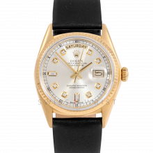 Rolex Day-Date 36 18038 18K Yellow Gold President, Custom Silver Diamond Dial, Fluted Bezel on Black Leather Strap - Men's Pre-Owned Watch