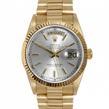 Rolex Day Date President 18038 Silver Stick Dial 18K Yellow Gold - Fluted Bezel On A President Bracelet - Pre-Owned