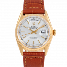 Rolex Day-Date 36 18038 18K Yellow Gold President, SIlver Stick Dial, Fluted Bezel on Brown Alligator Leather Strap - Men's Pre-Owned Watch