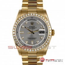 Rolex Day Date President 18038 Silver String Diamond Dial 18K Yellow Gold - Diamond Bezel On A President Bracelet - Pre-Owned