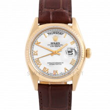 Rolex Day Date President 18038 White Roman Dial 18K Yellow Gold - Fluted Bezel On A Brown Leather Strap - Pre-Owned