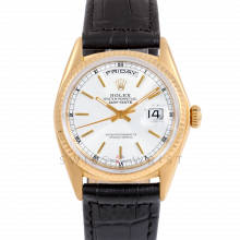 Rolex Day-Date 36 18038 18K Yellow Gold President, White Stick Dial, Fluted Bezel on Black Alligator Leather Strap - Men's Pre-Owned Watch