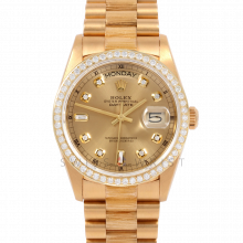 Rolex Day Date 36 18078 Yellow Gold President Custom Champagne Diamond Dial & Bezel w/ Bark Finish Bracelet Pre-Owned Mens Watch