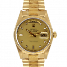 Pre-owned Rolex Mens Yellow Gold Day Date President Watch - Champagne Factory Diamond Dial & Fluted Bezel On A Bark Band 18248 90S Model