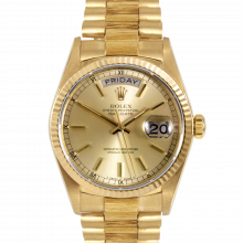 Pre-owned Rolex Mens Yellow Gold Day Date President Watch - Champagne Stick Dial & Fluted Bezel On A Bark Band 18248 90S Model