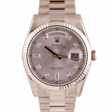 Pre-owned Rolex Mens New Style Rose Gold Day Date President Watch - Factory Rose Diamond Dial & Fluted Bezel Solid Gold Band 118235 Model