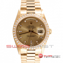 Rolex Day Date President 18038 Factory Champagne Diamond Dial 18K Yellow Gold - Factory Diamond Bezel On A President Bracelet - Pre-Owned