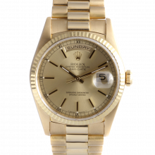 Rolex Day Date President 18238 Champagne Stick Dial 18K Yellow Gold - Fluted Bezel On A President Bracelet - Double Quickset - Pre-Owned