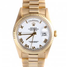 Rolex Day Date President 18238 White Roman Dial 18K Yellow Gold - Fluted Bezel On A President Bracelet - Double Quickset - Pre-Owned