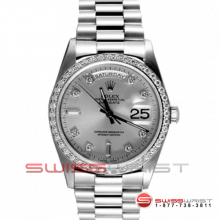 Rolex Men's White Gold Day Date President Factory Silver Diamond Dial & Diamond Bezel Double Quickset 90S 18239 Model
