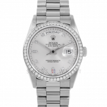 Rolex Day Date 36 18239 White Gold President w/ Factory Silver Diamond Dial & Custom Diamond Bezel Men's Pre-Owned Watch