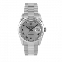Pre-owned Rolex Mens White Gold Day Date President Watch - Silver Roman Dial & Fluted Bezel Double Quickset 90S 18239 Model