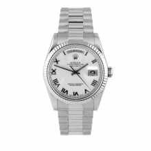 Pre-owned Rolex Mens White Gold Day Date President Watch - White Roman Dial - Fluted Bezel Double Quickset 90S 18239 Model