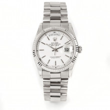Rolex Day-Date 36 118239 18K White Gold President with White Stick Dial & Fluted Bezel - Double Quickset Men's Watch