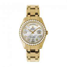 New Rolex Men's Masterpiece Pearlmaster Day Date Watch - 18K Yellow Gold Mother of Pearl Diamond Dial - Diamond Bezel - Pearlmaster Bracelet 39 MM 18948